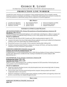 sle resume of factory worker blue collar workers resume sles