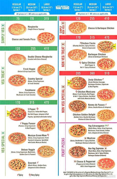 domino pizza with price domino pizza menu price list images