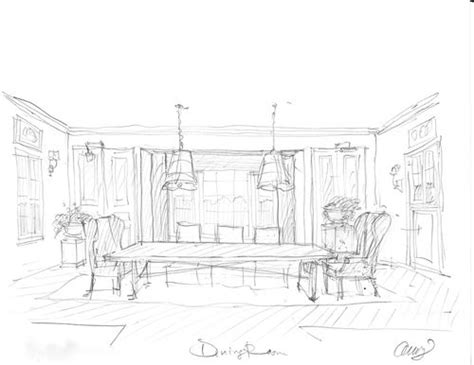 sketch of dining room how to draw a dining room 15829