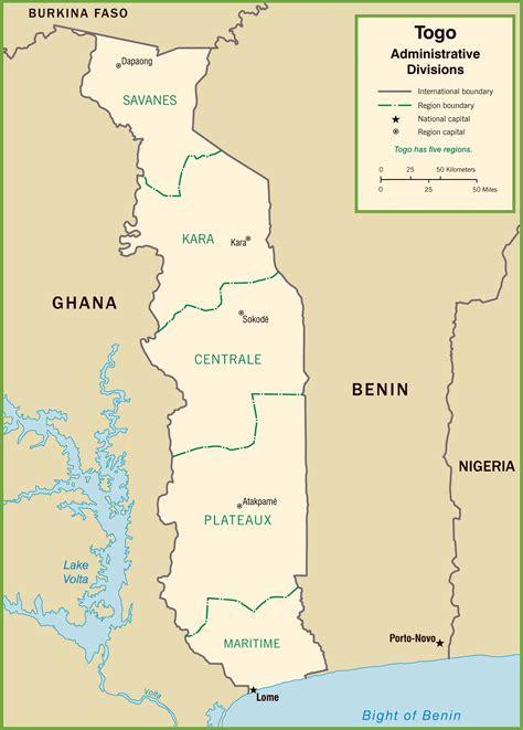 political map of togo togo political map
