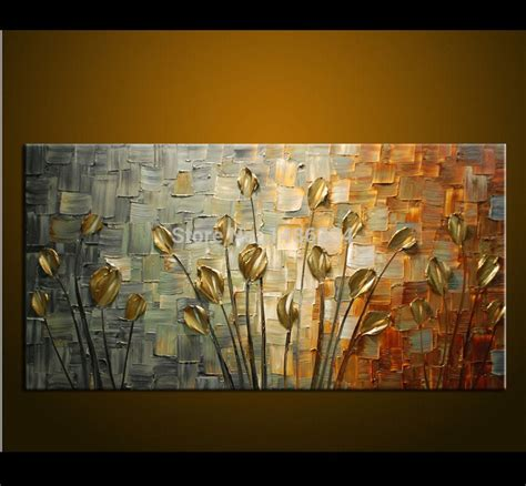 hand  oil painting palette knife thick paint golden