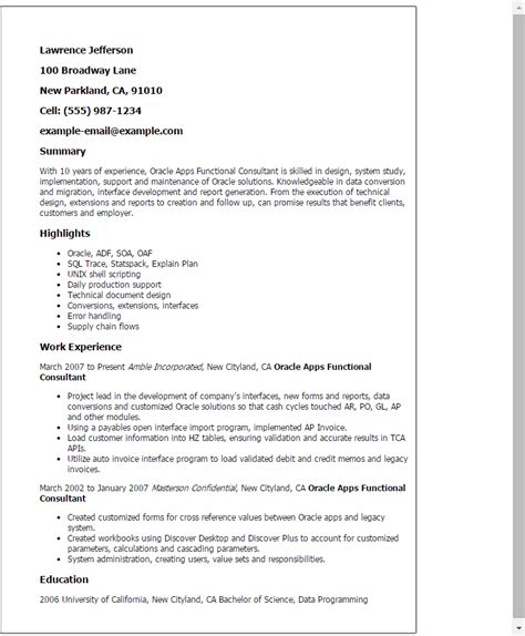 Functional Consultant Cover Letter by Professional Oracle Apps Functional Consultant Templates To Showcase Your Talent Myperfectresume