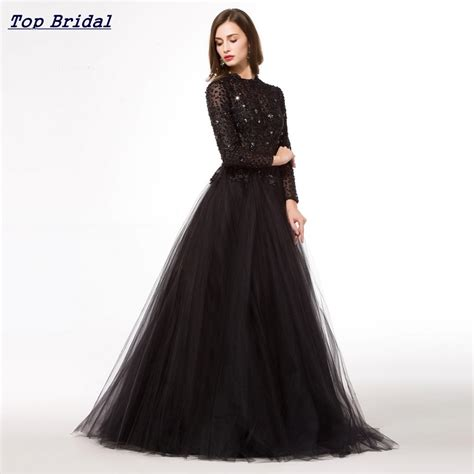 by my michelle lace long gown for prom long puffy black prom dress long sleeve 2016 ball gown see