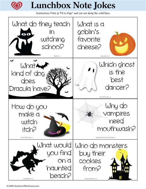printable halloween jokes and riddles southern mom loves halloween lunchbox note jokes