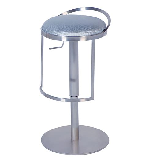Adjustable Height Swivel Stool by Silver Adjustable Height Swivel Stool Chintaly 0571 As Slv