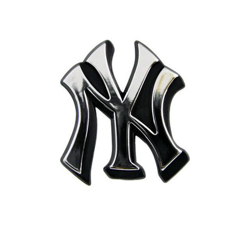 new york yankees car auto 3 d chrome silver team logo