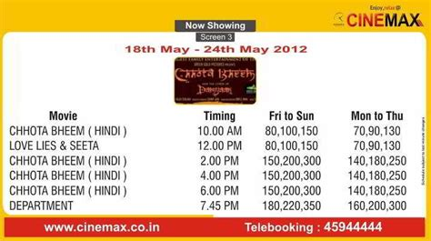 cinemaxx schedule movie screening schedule 18 may to 24 may 2012 cinemax