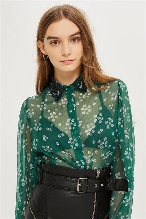 Beaded Collar Shirt beaded collar shirt topshop