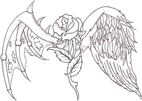 coloring pages of angels with wings a heart with wings and a rose 853 jpg 800 215 571 ideas