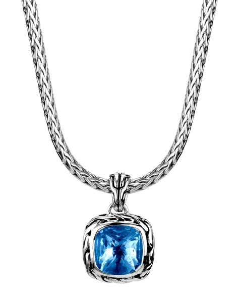 Batu Blue Topaz I231 hardy batu classic chain blue topaz pendant necklace in blue lyst