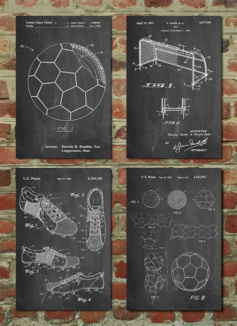soccer home decor soccer patent posters group of 4 soccer gifts sports decor
