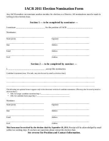 2010 By Election Caign Group Nomination Form Nominating Committee Report Template