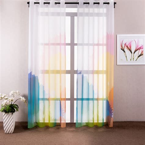 colorful bedroom curtains white window curtain living room printed colorful kids