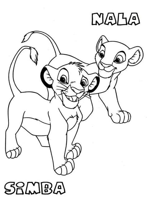 free coloring pages of young simba and nala