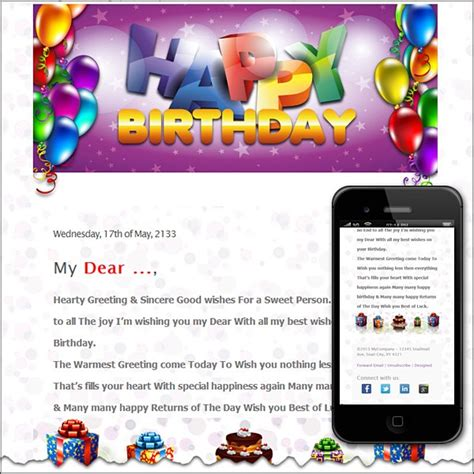 Free Premium Html Email Templates Happy Birthday Email Template