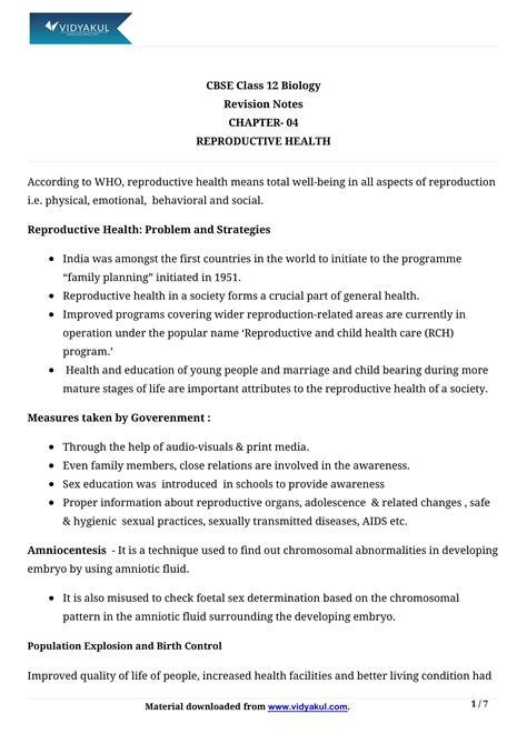 Reproductive Health Class 12 Notes   Vidyakul