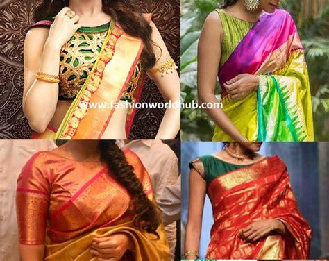 boat neck blouse for pattu sarees fashionworldhub - Boat Neck Pattu Blouses