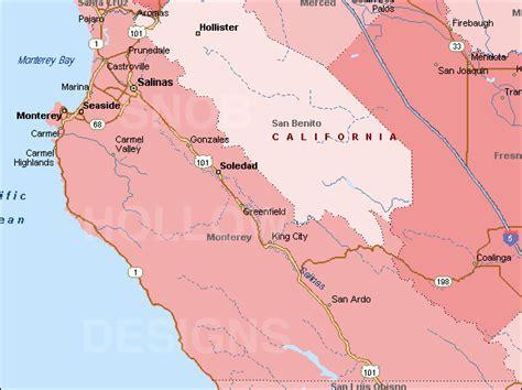 california map monterey county monterey county california color map
