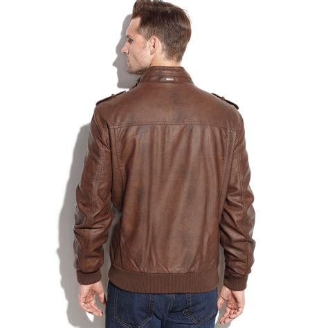 faux leather bomber calvin klein faux leather bomber jacket in brown for