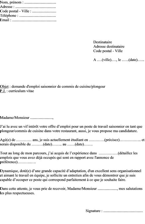 exemple de lettre de motivation d 233 t 233 plongeur ou