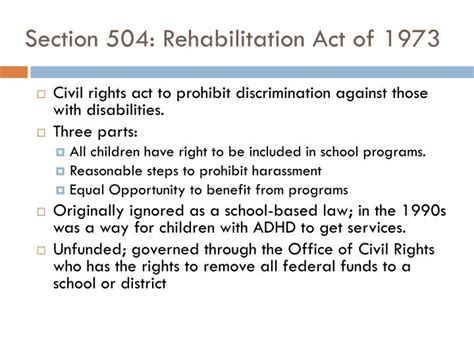 rehabilitation act of 1973 section 504 ppt ethics and law for school psychologists powerpoint