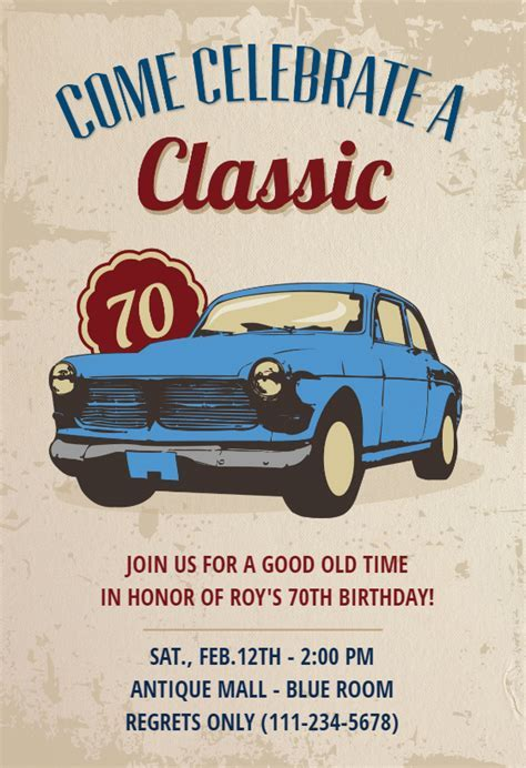 Car Classic 70th Birthday   Birthday Invitation Template
