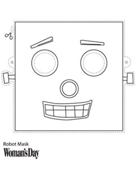 Halloween Crafts Printable Robot Face Mask At Womansday Com Robot Craft Template