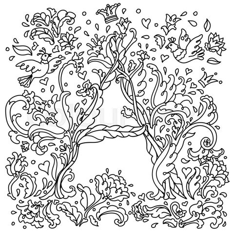 coloring pages for adult in zenart style antistress coloring page pattern for coloring book hand drawn decorative a letter