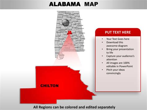 Usa Alabama State Powerpoint County Editable Ppt Maps And Templates Jefferson Powerpoint Template