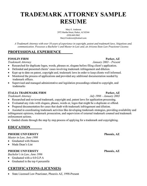Resume Template Attorney Free Trademark Attorney Free Resume Sle Things To Pintere