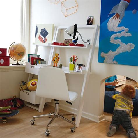 little sloane leaning desk kids desk kids white leaning wall desk the land of nod
