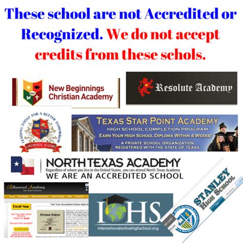 accredited high schools accredited high schools these school are not