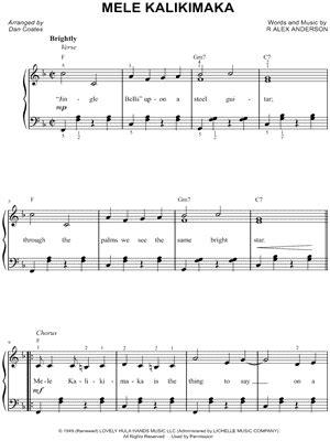 printable lyrics to mele kalikimaka bing crosby quot mele kalikimaka quot sheet music easy piano