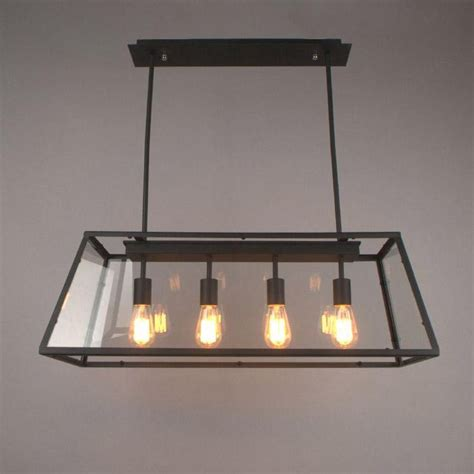 Loft Pendant L Retro American Industrial Black Iron Rectangular Dining Room Light