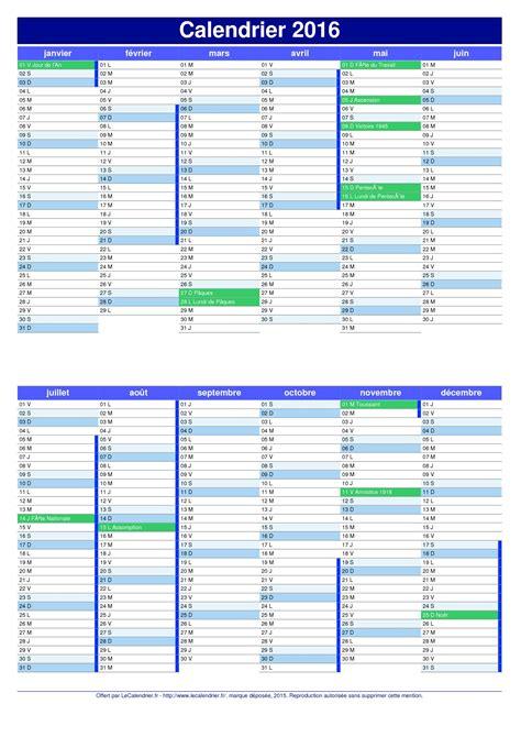 Vacances 2016 Calendrier Calendrier 2016 Pdf