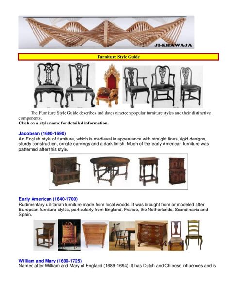 furniture styles furniture style guid