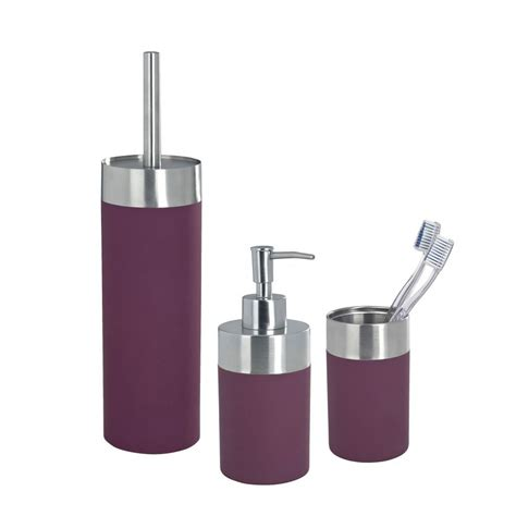 wenko creta bathroom accessories set purple at victorian plumbing uk