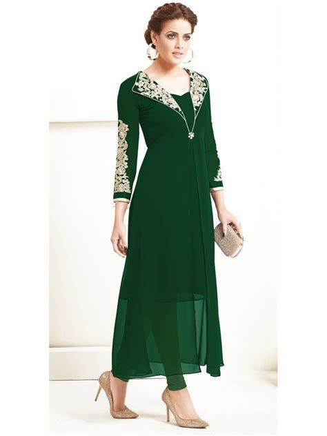 Indian Home Decor Online Shopping by Sasya Bottle Green Designer Kurti Arihant 8026 Cilory Com