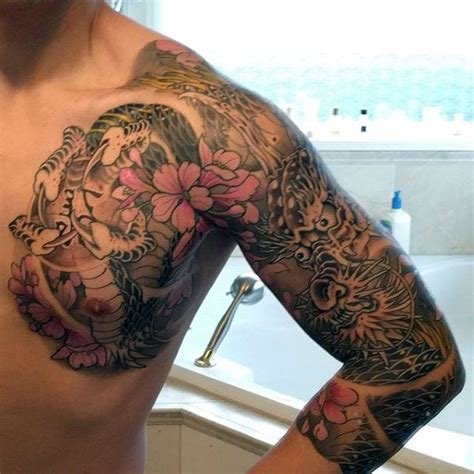 tattoo chest and sleeve 50 chinese dragon tattoo designs for men flaming ink ideas