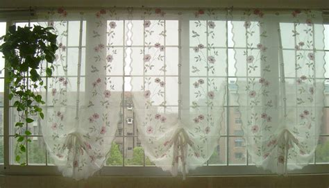 Tenda Cafe Second embroidered pink flowers balloon shade sheer voile