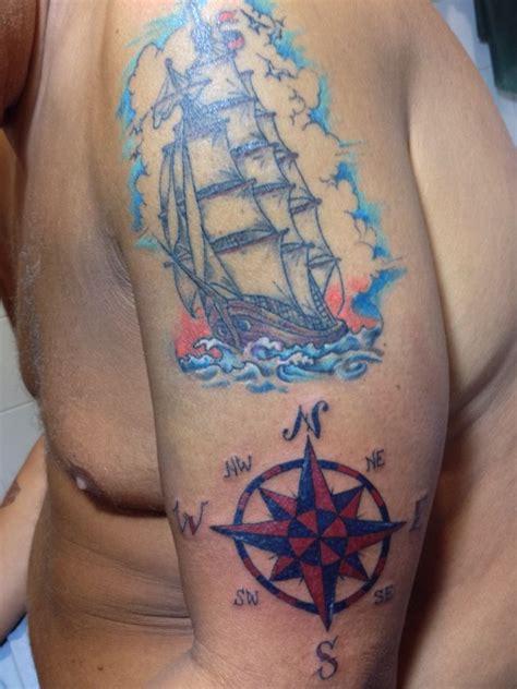 veliero e rosa dei venti l s t s tattoo works pinterest