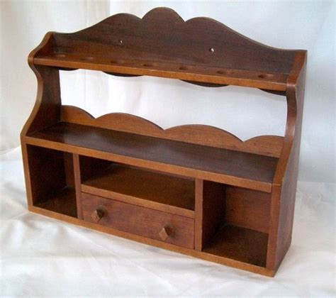Wooden Wall Stand Antique Pipe Stand Vintage Wooden Shelf With Drawer Wall