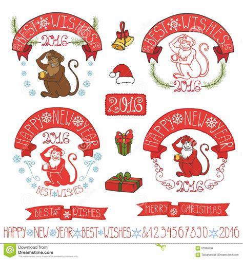 new year monkey decor new year monkey 2016 label decoration vector