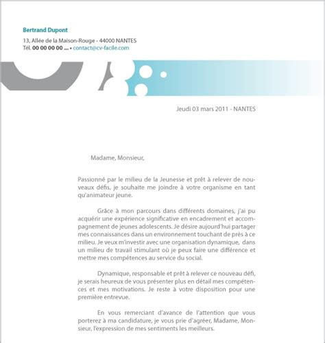 resume format lettre de motivation exemple facile