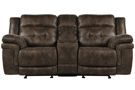 glider reclining loveseat carver reclining glider loveseat w console living spaces