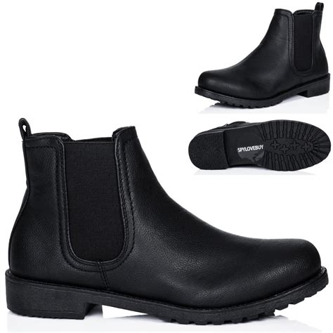 womens flat cleated sole leather style chelsea ankle boots