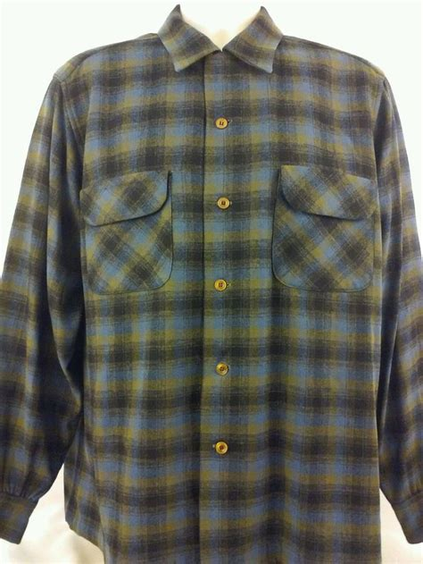 Kemeja Flannel Tartan Green vtg pendleton tartan shadow plaid flannel board shirt sz l green blue field wool pendleton