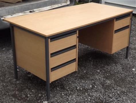 Heavy Duty Office Desk Large Heavy Duty Office Desk Lockable Light Oak Effect Solid Drawers Study Home Ebay