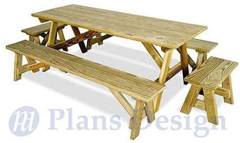 picnic bench and table plans classic rectangle picnic table with benches woodworking
