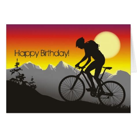 bicycle birthday card template silhouette mountain bike happy birthday card zazzle